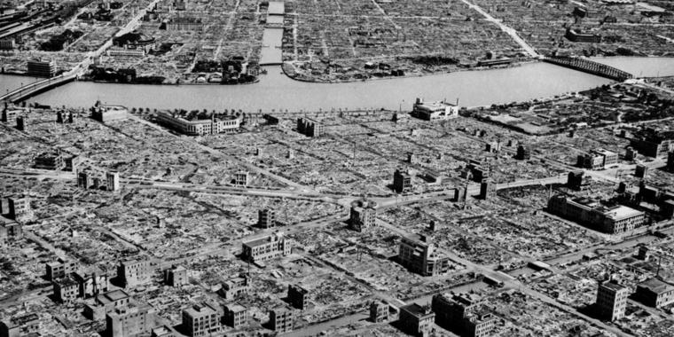 The industrial section of Tokyo along the Sumida River is pictured in this aerial view showing wartime destruction, 1945. (AP Photo) | The industrial section of Tokyo along the Sumida River is pictured in this aerial view showing wartime destruction, 1945. (AP Photo)