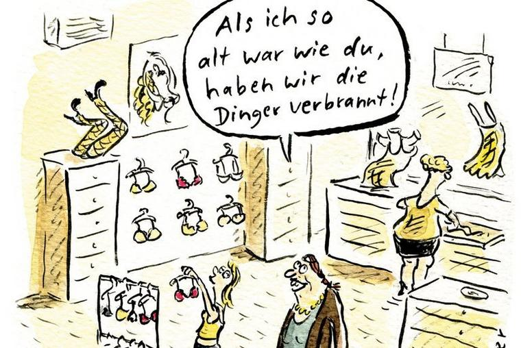 Die 68er in Cartoons, hier Miriam Wurster