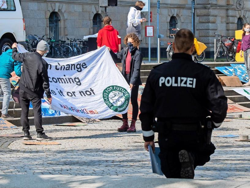 Klimaprotest in Hannover.