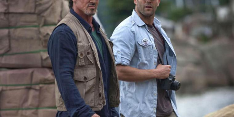 "Sylvester Stallone (links) und Jason Statham in ""The Expendables""."