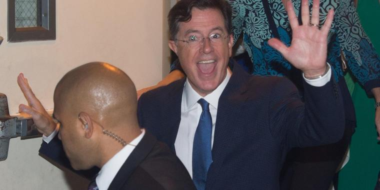 "Foto: Der Satiriker Stephen Colbert in seinem Element. Am 8. September startet er als Moderator der ""Late Show""."