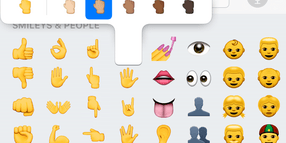 Foto: Screenshot aus Apples App iMessage mit der Emoji-Tastatur.