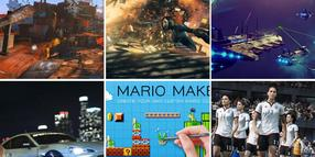Foto: Szenen aus den Spielen Fifa 16, Quantum Break, Need for Speed, Fallout 4, No Man's Sky, Teamwork und Bastelstunde mit Mario