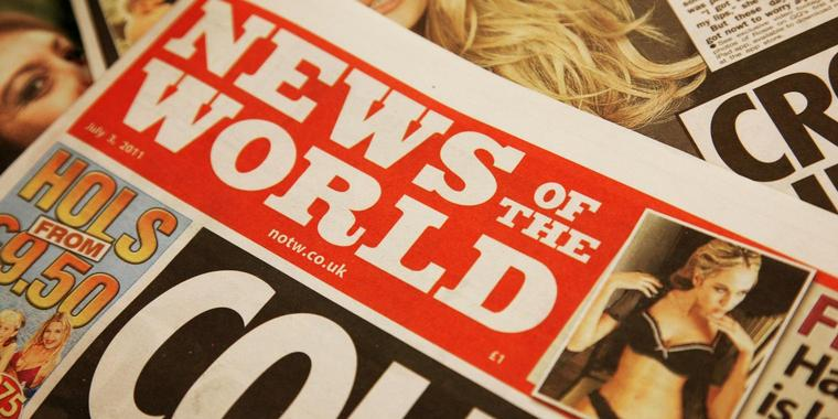 "Foto: Titelseite der ""News of the World"""