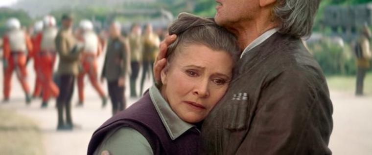 Carrie Fisher (l) als Leia und Harrison Ford als Han Solo.
