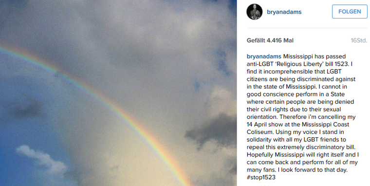 "2016-04-11 22_27_38-@bryanadams auf Instagram_ ""Mississippi has passed anti-LGBT 'Religious Liberty'"