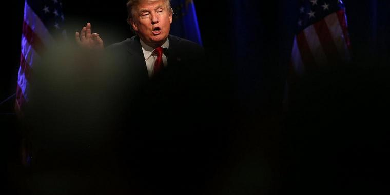 LAS VEGAS, NV - DECEMBER 14: Republican presidential candidate Donald Trump speaks during a campaign rally at the Westgate Las Vegas Resort & Casino on December 14, 2015 in Las Vegas, Nevada. Donlad Trump is campaigning in Las Vegas a day ahead of the final GOP debate.   Justin Sullivan/Getty Images/AFP== FOR NEWSPAPERS, INTERNET, TELCOS & TELEVISION USE ONLY ==