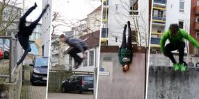 Die Sportler von Parkour Kiel in Aktion.