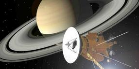 Computersimulation der Raumsonde Cassini im Saturnsystem.