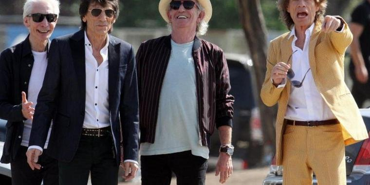 Charlie Watts (l-r), Ron Wood, Keith Richards und Mick Jagger 2016 in Santiago de Chile.