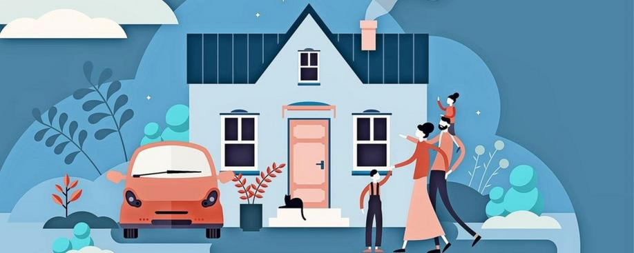 Family house vector illustration. Flat tiny modern property person concept. Real estate exterior with parents, children and cat. Happy everyday daily routine situation scene with harmony relationship. Bauen und Wohnen in Brandenburg