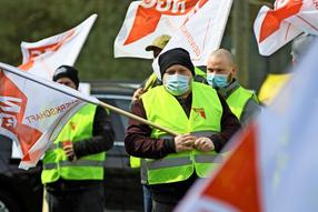 Streik bei Vion in Perleberg, 15. April 2021