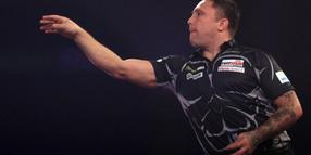Der walisische Darts-Profi Gerwyn Price in Aktion.