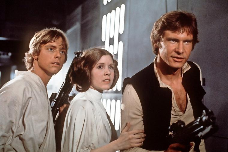 "Luke Skywalker (Mark Hamill, l), Prinzessin Leia Organa (Carrie Fisher, m) und Han Solo (Harrison Ford, r) IN ""Star Wars""-Saga ""Die Rückke"