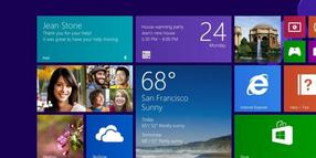 Startscreen von Windows 8.1.