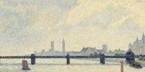 "Das Ölgemälde ""Charing Cross Bridge"" (1890) von Camille Pissarro in der Tate Britain in London."