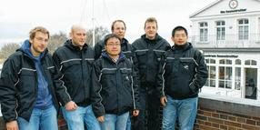 Das internationale Mess-Team: Thomas Jost (v.l.), Christian Gentner, Wei Wang, Ronald Raulefs, Armin Dammann, Siwei Zhang