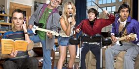 "Die Rocker unter den Nerds: Sheldon, Leonard, Penny, Howard und Raj von  ""The Big Bang Theory""."