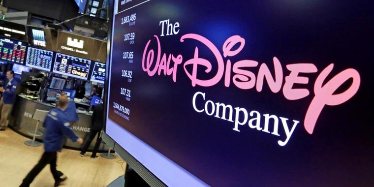 Das Walt Disney Co. Logo in der New York Stock Exchange (USA).