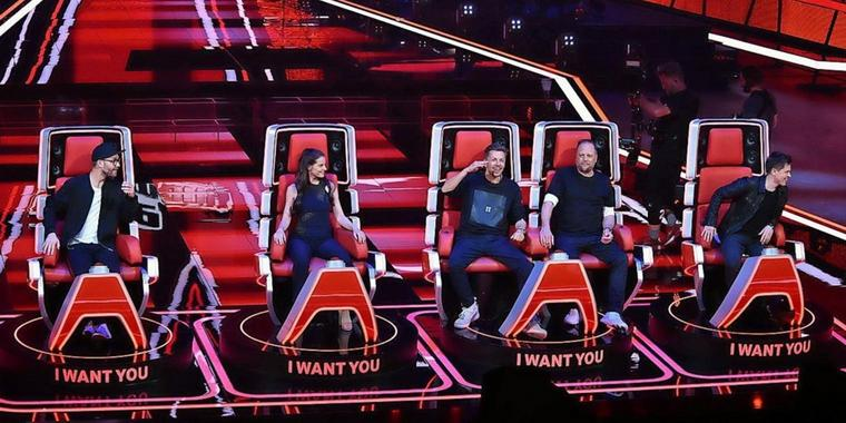 """Suchen """"The Voice of Germany"""": (v.l.n.r.) Mark Forster, Yvonne Catterfeld, Smudo, Michi Beck und Michael Patrick Kelly."""
