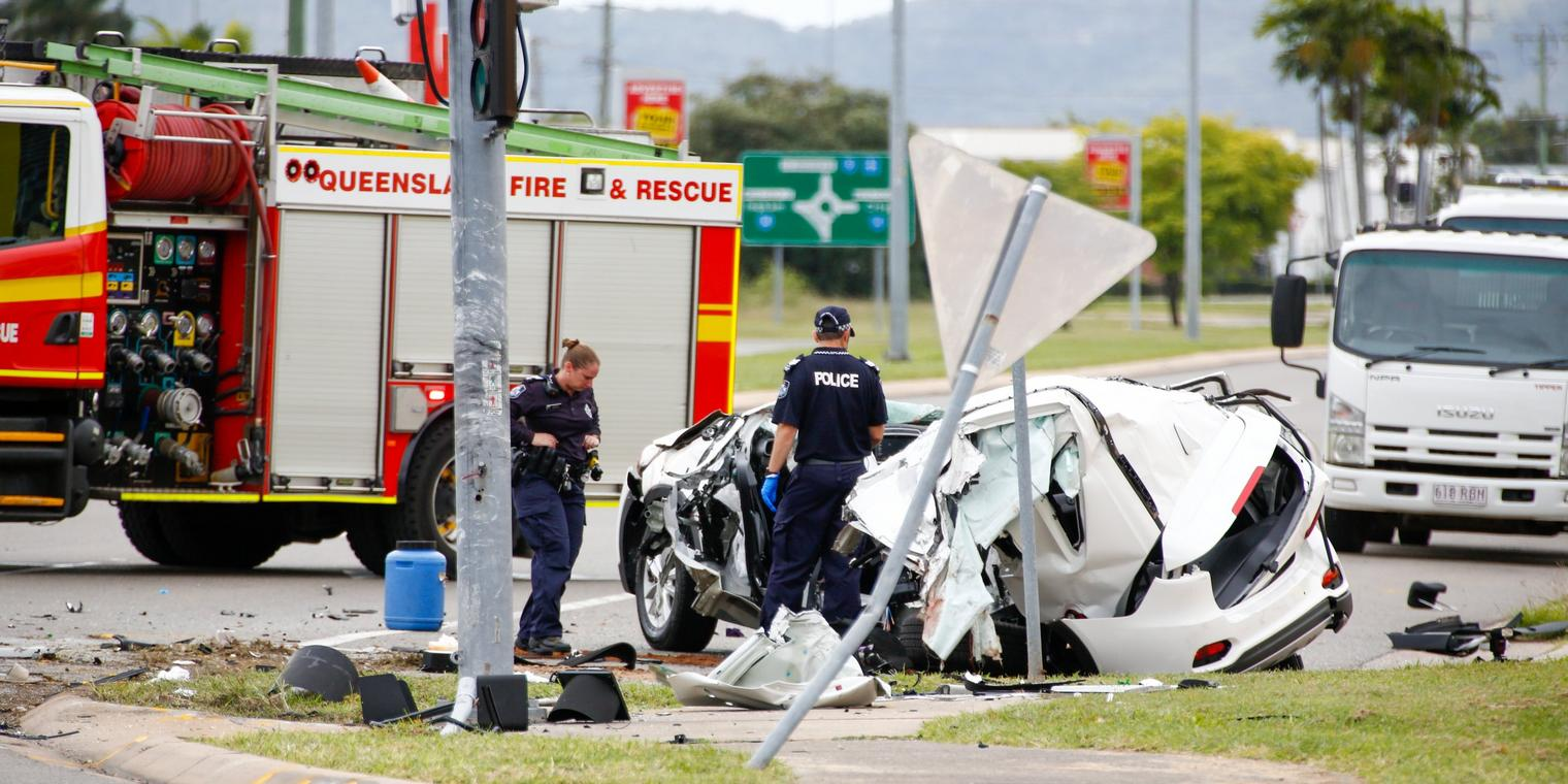 Police work at the scene of a fatal car crash in Townsville, QLD, Sunday, June 7, 2020. A 14-year-old boy was driving a stolen vehicle that crashed, killing four other teenagers, in suburban Townsville early on Sunday. (AAP Image/Michael Chambers) NO ARCHIVING
