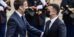 Visit of Mr. Volodymyr Zelensky president of Ukraine and his wife at the Elysee Palace where they were received by the French president Emmanuel Macron and his wife Brigitte Macron. PUBLICATIONxINxGERxSUIxAUTxONLY SadakxSouicix/xLexPictorium LePictorium_0244940