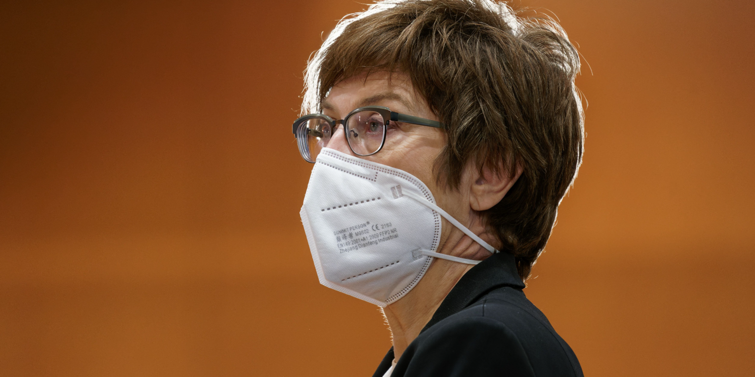 BERLIN, GERMANY - AUGUST 25: Minister of Defence Annegret Kramp-Karrenbauer attends a weekly government cabinet meeting on August 25, 2021 in Berlin, Germany. (Photo by Henning Schacht - Pool/Getty Images)