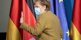 BERLIN, GERMANY - APRIL 13: German Chancellor Angela Merkel leaves after giving a statement on the latest coronavirus measures after a Cabinet Meeting on April 13, 2021 in Berlin, Germany. (Photo by Andreas Gora - Pool/Getty Images)