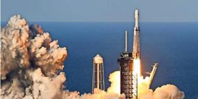 Erfolgreicher Start: Die SpaceX Falcon Heavy hebt am 11. April vom Kennedy Space Center in Cape Canaveral (Florida) ab.