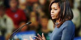 First Lady Michelle Obama bei ihrer Rede in Manchester/New Hampshire.