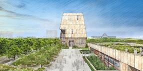 Die undatierte Skizze zeigt das geplante Obama Presidential Center in Chicago.
