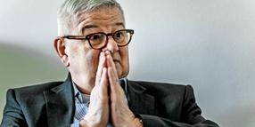 Joschka Fischer im Interview in Berlin.