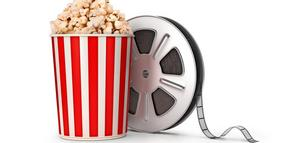 The film reel and popcorn. 3d illustration bubu